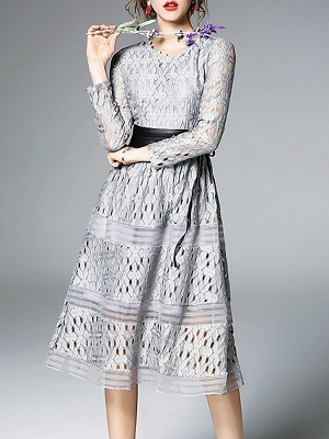 Midi Dress A-line Daily Dress Long Sleeve Elegant Lace Solid Dress_3