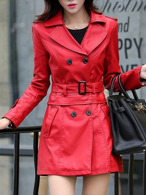 Long Sleeve Casual Buttoned Shift Solid Pockets PU Coat_1