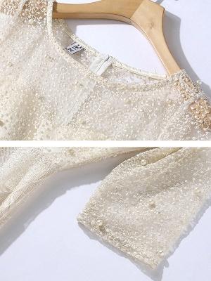 White Flounce Elegant Crew Neck Lace Beaded Guipure lace A-line Midi Dresses_6