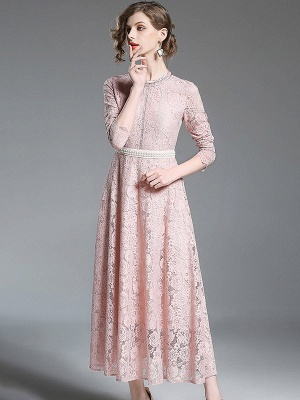 A-line Casual Guipure lace Solid Maxi Dress_3