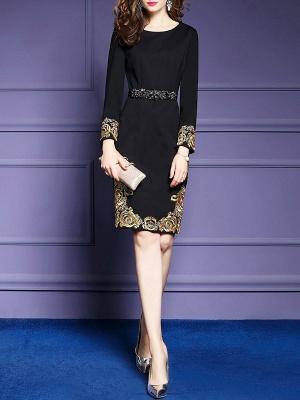 Black Midi Dress Bodycon Party Dress Long Sleeve Elegant Embroidered Floral Dress_4