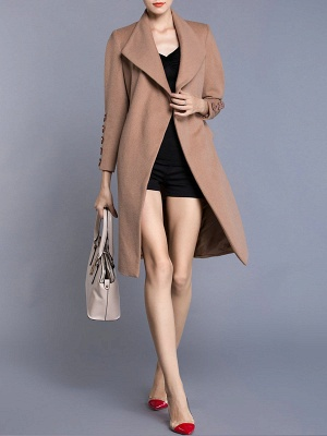 Apricot Long Sleeve Solid Buttoned Pockets Coat_6