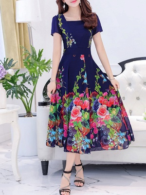 Square Neck Maxi Kleid Tageskleid Kurzarm Boho Printed Floral Dress_1