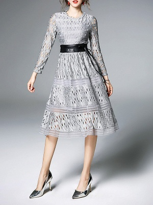 Midi Dress A-line Daily Dress Long Sleeve Elegant Lace Solid Dress_6