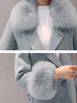 Manteau moelleux fendu à manches longues et col châle_7