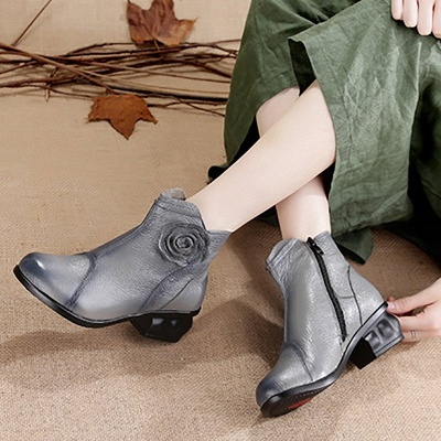 Daily Flower Round Toe Zipper Chunky Heel Boots_7