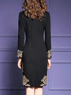 Black Midi Dress Bodycon Party Dress Long Sleeve Elegant Embroidered Floral Dress_3