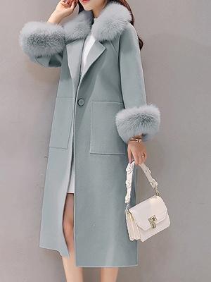 Manteau moelleux fendu à manches longues et col châle_2