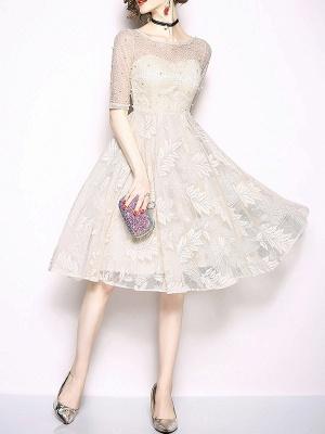 White Flounce Elegant Crew Neck Lace Beaded Guipure lace A-line Midi Dresses_4