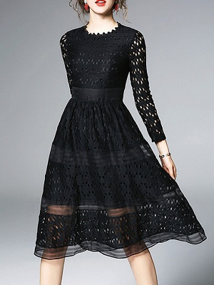 Midi Dress A-line Daily Dress Long Sleeve Elegant Lace Solid Dress_2
