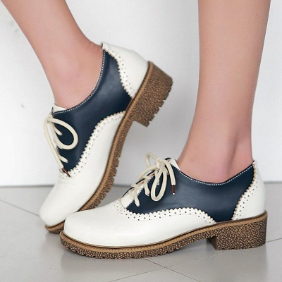 Lace-up Daily Chunky Heel Color Block Oxfords