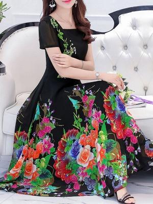 Square Neck Maxi Kleid Tageskleid Kurzarm Boho Printed Floral Dress_2