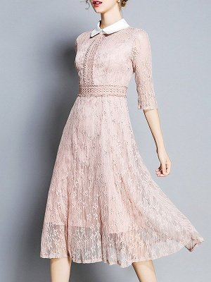 Pink Elegant See-through Look A-line Shirt Collar Guipure lace Midi Dresses