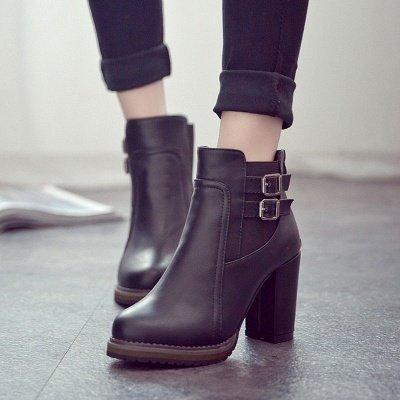 PU Buckle Round Toe Chunky Heel Boot_5