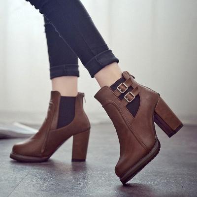 PU Buckle Round Toe Chunky Heel Boot_1