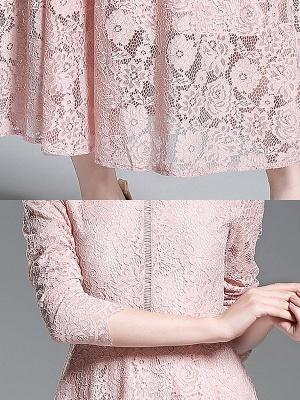 Una línea de encaje guipur informal vestido maxi sólido_7