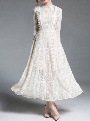 Beige Crew Neck Guipure Lace Holiday Solid Appliqued Maxi Dresses