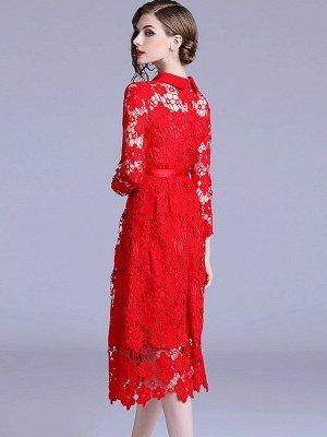 Formal Dresses Long Sleeve Vintage Dresses Daily A-Line Shirt Collar Statement Guipure Lace Dresses_3