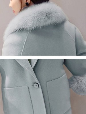 Cuello chal de manga larga Bolsillos con paneles Slit Fluffy Coat_8