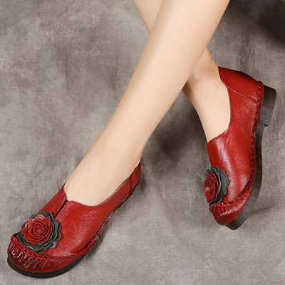 Flower Round Toe Casual Leather Loafers