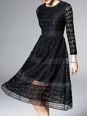 Midi Dress A-line Daily Dress Long Sleeve Elegant Lace Solid Dress_11