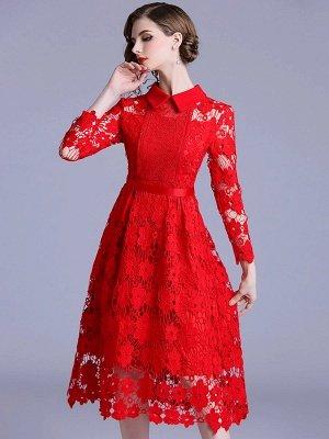 Formal Dresses Long Sleeve Vintage Dresses Daily A-Line Shirt Collar Statement Guipure Lace Dresses_2