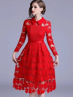 Formal Dresses Long Sleeve Vintage Dresses Daily A-Line Shirt Collar Statement Guipure Lace Dresses_1