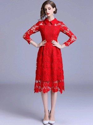 Formal Dresses Long Sleeve Vintage Dresses Daily A-Line Shirt Collar Statement Guipure Lace Dresses_4