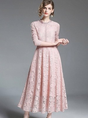 A-line Casual Guipure lace Solid Maxi Dress_4