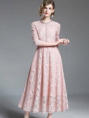 Una línea de encaje guipur informal vestido maxi sólido_4
