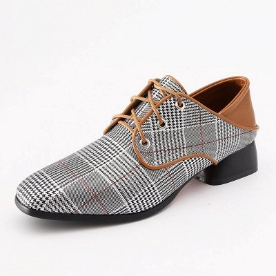 Checkered Lace-up Daily Square Toe Oxfords