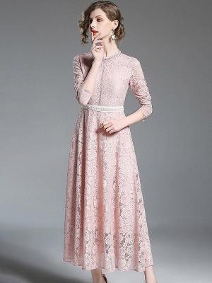Una línea de encaje guipur informal vestido maxi sólido_3