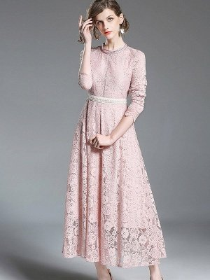 A-line Casual Guipure lace Solid Maxi Dress_5