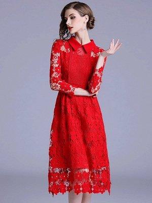 Formal Dresses Long Sleeve Vintage Dresses Daily A-Line Shirt Collar Statement Guipure Lace Dresses_5