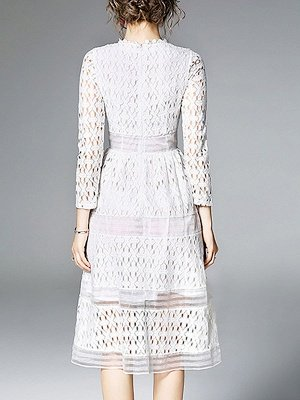 Midi Dress A-line Daily Dress Long Sleeve Elegant Lace Solid Dress_5