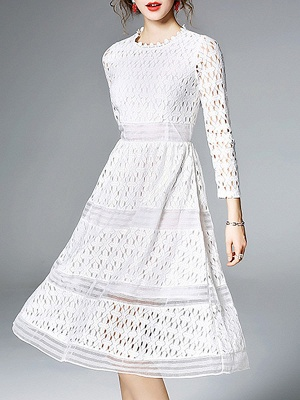 Midi Dress A-line Daily Dress Long Sleeve Elegant Lace Solid Dress_12