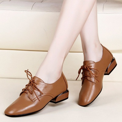 Chunky Heel Lace-up Pointed Toe Oxfords