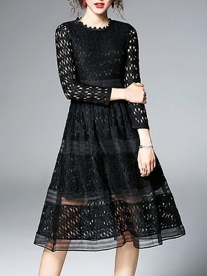 Midi Dress A-line Daily Dress Long Sleeve Elegant Lace Solid Dress_10