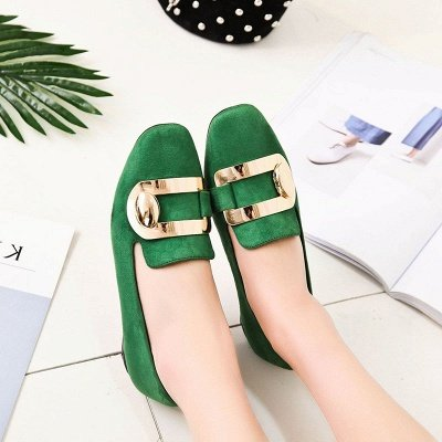 Daily Chunky Heel Suede Square Toe Loafers