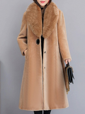 Buttoned Paneled Solid Shawl Collar Fur And Shearling Coats_1