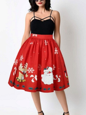 أحمر عيد الميلاد الغزلان سانتا كلوز ندفة الثلج المطبوعة عالية الخصر تنورة مطوي ميدي_6