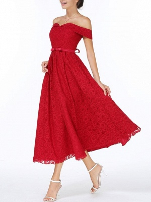 Christmas Party Long Homecoming Dresses Red Off The Shoulder Lace Midi Swing Evening Gowns Prom Dress_3