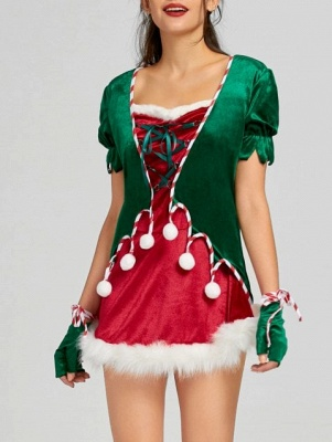 Christmas Lace Up Mini Dress with Hat and Gloves_1
