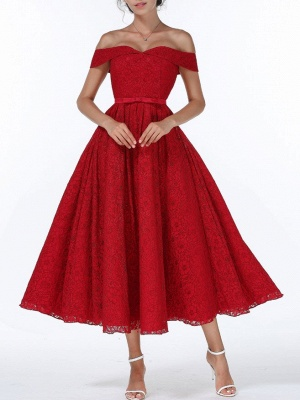 Christmas Party Long Homecoming Dresses Red Off The Shoulder Lace Midi Swing Evening Gowns Prom Dress_2