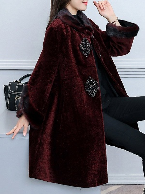 Long Sleeve Beaded Solid Buttoned Fur And Shearling Coats_9