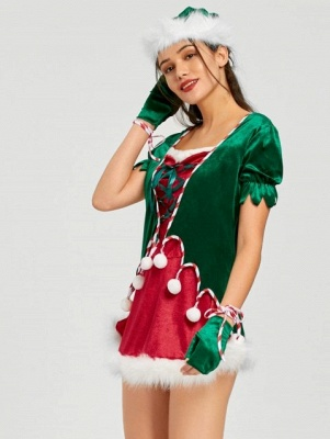 Christmas Lace Up Mini Dress with Hat and Gloves_3