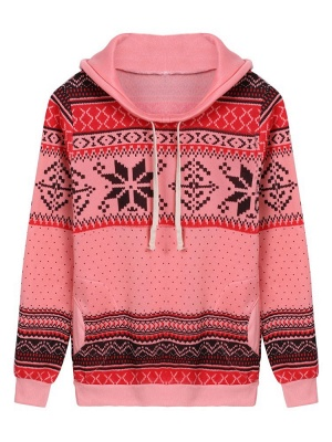 Ethnic Style Snowflakes Printed Thick Fleece Hoodies Casual Hooded Christmas Clothing for Women_9