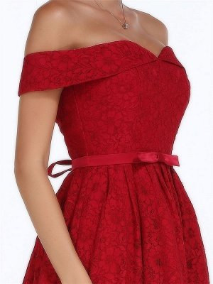 Christmas Party Long Homecoming Dresses Red Off The Shoulder Lace Midi Swing Evening Gowns Prom Dress_7