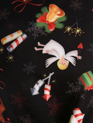 Christmas Print Belted A Line Dress_3