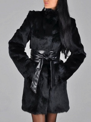 Black Long Sleeve Pockets Casual Fur and Shearling Coat_5